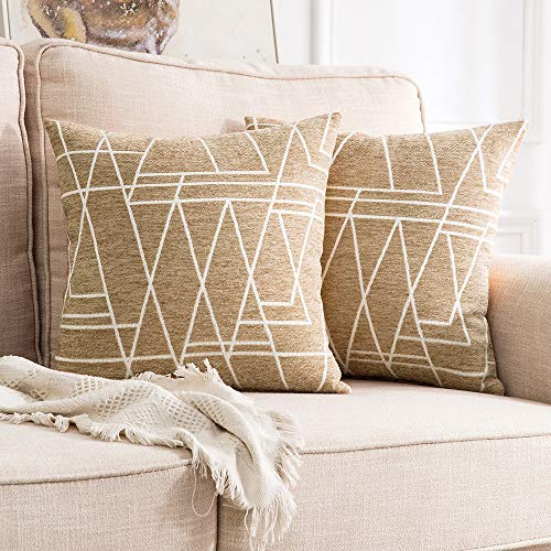 - MIULEE Pack of 2 Decorative Throw Pillow Covers Woven Textured Chenille Cozy Modern Concise Soft Khaki Square Cushion Shams for Bedroom Sofa Car 18 x 18 Inch