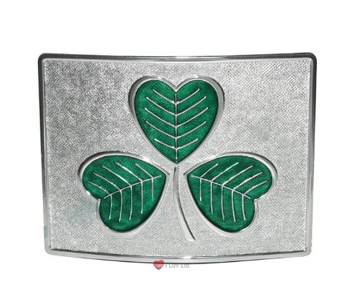 Large Shamrock Kilt Belt Buckle Green on Chrome I Luv LTD