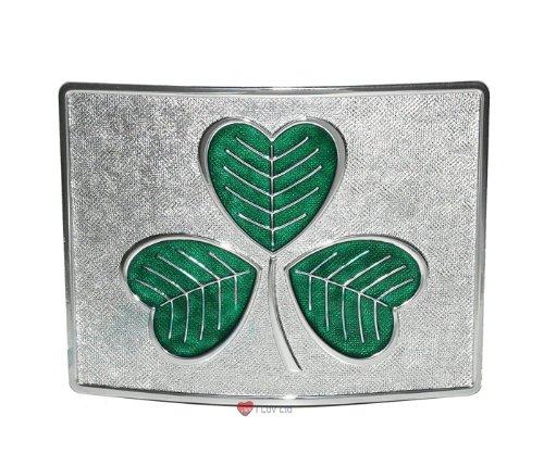 Large Shamrock Kilt Belt Buckle Green on Chrome I Luv LTD