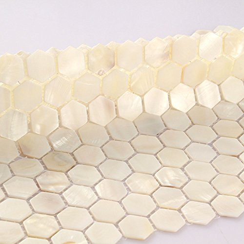 Hexagon Tiles White Mother Of Pearl Tiles Bathroom Wall Backsplash Kitchen Mosaic Subway Fireplace Deco (1PCS Small Sample 2.8x5.9 Inches)