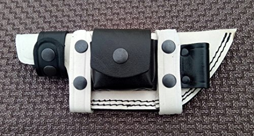 Ottoza Custom Handmade White & Black KNIFE SHEATH/HORIZONTAL SCOUT TRACKER - BUSHCRAFT - SKINNER Cow/Buffalo Leather No:6 ()
