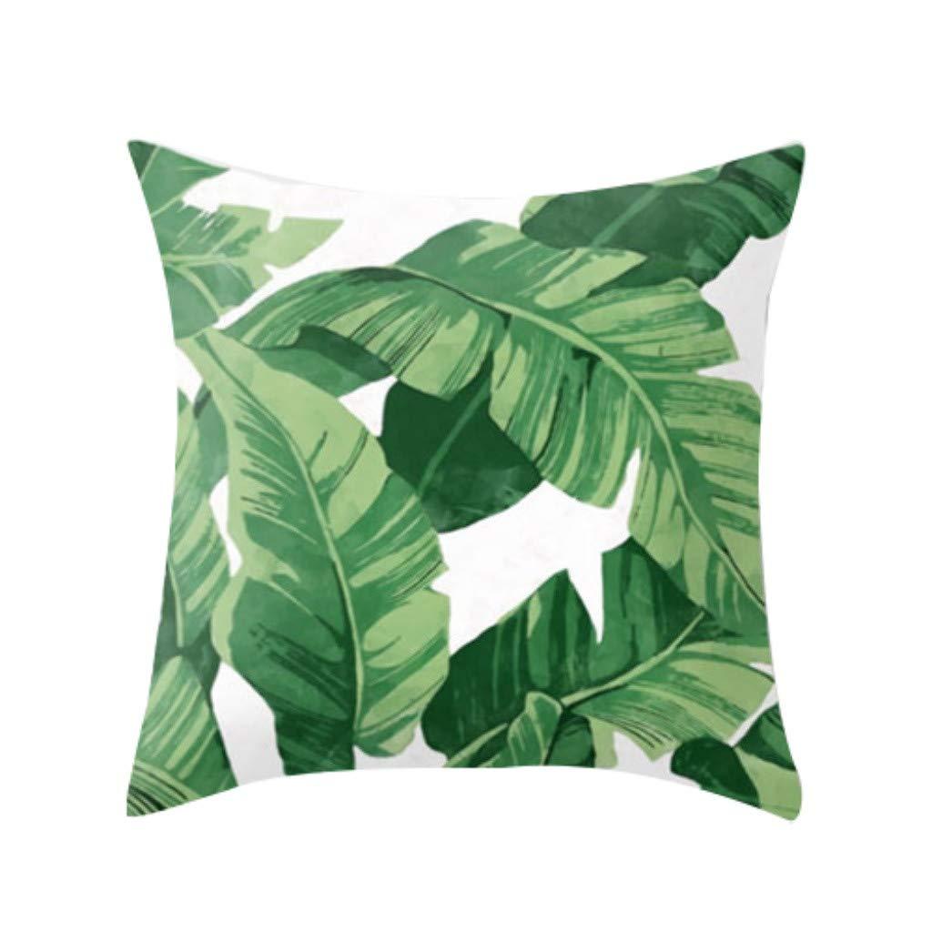 Midress Tropical Plant Polyester Pillowcase Cotton Linen Sofa Throwing Pad Set Home Car Living Room Decoration Lumbar Pillow (B)