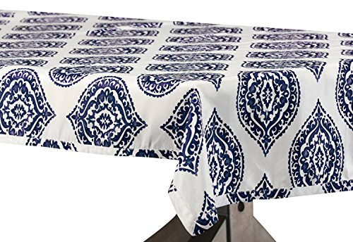 - PTPCH-170808A-TC-108 Donegal Designer Faux Silk Taffeta Table Cloth, Blue, 54 x 108