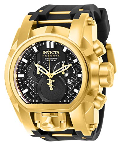 Invicta Men's Reserve Stainless Steel Quartz Watch with Silicone Strap, Black, 34 (Model: 25607) (Reserve Bolt Invicta Zeus)