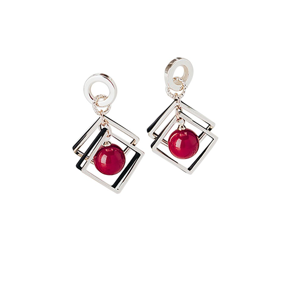 Geometric diamond-shaped cherry pearl earrings with big ears and earrings for womens girls Mothers Day