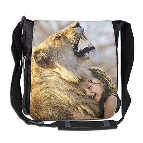SARA NELL Messenger Bag,africa Lion With Girl,Unisex Shoulder Backpack Cross-body Sling Bag by SARA NELL