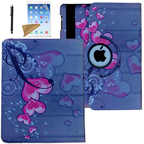 iPad 2 Case, iPad 3 Case, iPad 4 Case, Lingsor 360 Degree Rotating Stand Magnetic Smart Leather Cover Auto Sleep Wake For iPad 2/3/4 With Film And Stylus, Pink Heart
