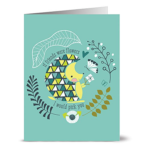 24 Note Cards - If Friends Were Flowers Hedgehog Turquoise - Blank Cards - Kraft Envelopes Included (Hippo Note Card)