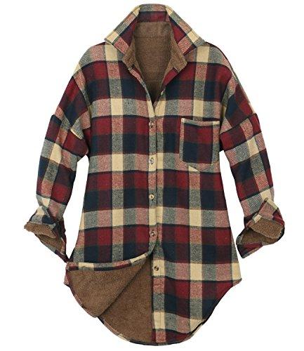 ililily Women Checkered Plaid Sherpa Lined Flannel Long Shirt Trucker Jacket (Medium, Red Beige ()