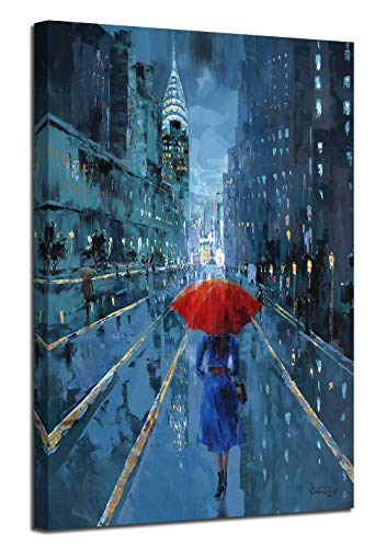 "Ardemy Canvas Wall Art Modern Blue New York Cityscape Painting Picture, Lady with Red Umbrella Street Scenery One Panel Framed 24""x36"" for Living Room Bedroom Home Office Decoration"