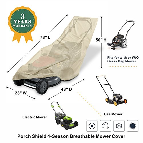 Porch Shield 100% Waterproof Push Lawn Mower Cover Universal Fit Walk Behind Mower