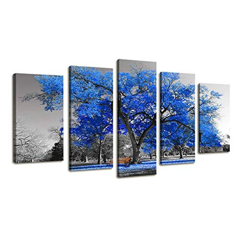 ZETANAART Wall Art Painting Contemporary 5parts Blue Tree in Black and White Style Fall Landscape Picture Modern Giclee Stretched and Framed Artwork