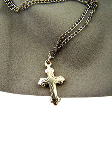 Religious Gifts Girls Silver Tone Fleur De Lis Latin Cross Pendant on Chain Necklace, 5/8 Inch