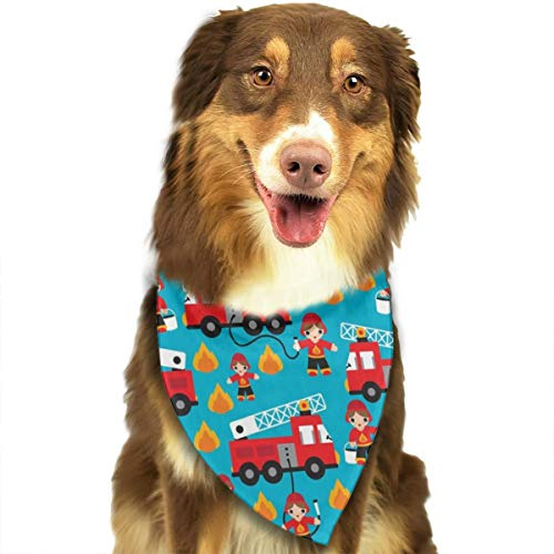 ROCKSKY Fire Truck and Hero Boys Car Dog Bandanas Bandana Kerchief Dogs Cats Pets Animals Birthday Bandana Scarves, Triangle Headchief for Party, Wedding, Girls Boy Unisex Pets