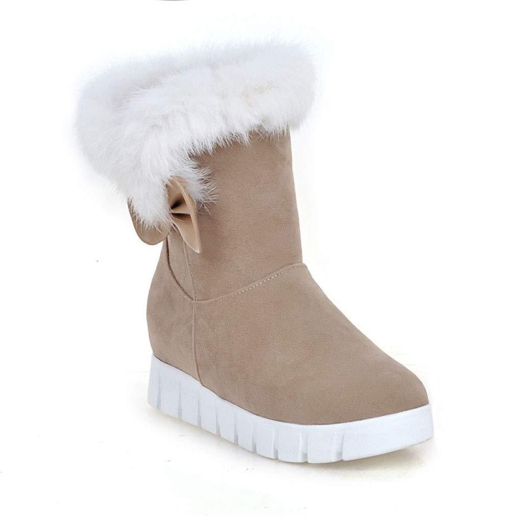 Hy 2018 Frauen Schnee Stiefel Wildleder Winter Slip-Ons Dicke Unterseite Bowknot Stiefelies Damen Große Größe Plus Cashmere Skiing Schuhe (Farbe   Beige Größe   40)