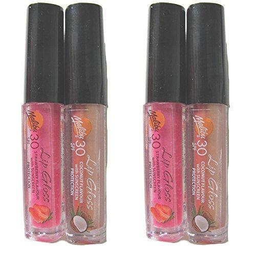 Malibu Lip Gloss UVA/UVB Täglich Sonnenschutz Shutz- SPF30 Doppelpack Erdbeergeschmack und Kokosnuss Geschmack (Zwei packs)