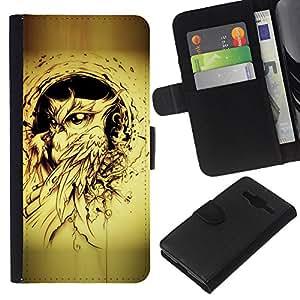 KingStore / Leather Etui en cuir / Samsung Galaxy Core Prime / Tatouage Jaune encre noire Peinture