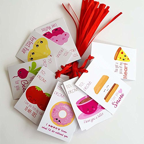 Perfect Pair Valentine's Day Gift Tags - Food and Drink Valentine Love Sayings Tags - Set of 24 by Adore By Nat