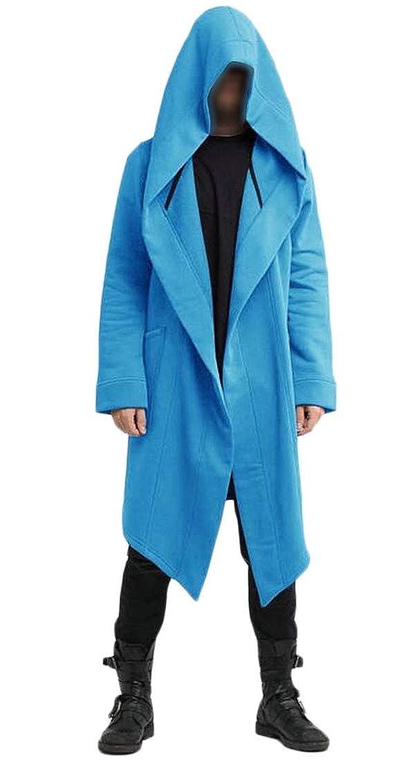 WSPLYSPJY Mens Autumn Long Sleeve Loose Hooded Open Front Coat Outwear