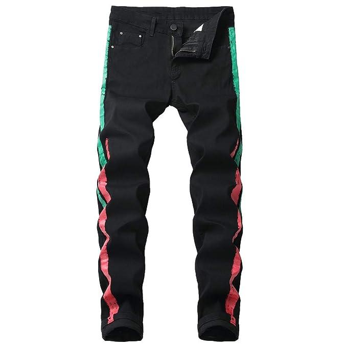 TIFIY Moda Pantalones Vaqueros para Hombre Negro Elásticos ...