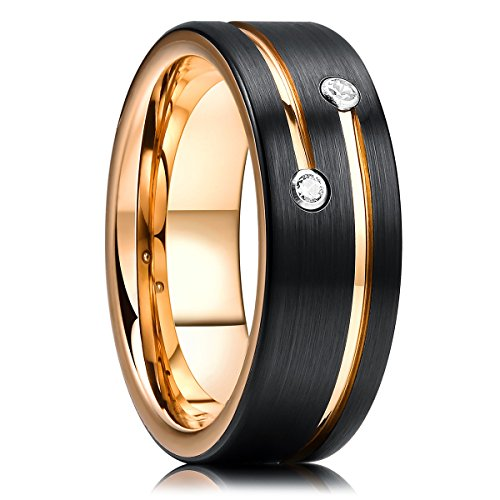 King Will GEM 8mm Mens Black Tungsten Carbide Wedding Ring Gold Plated Grooved Line Cubic Zircon Inlay 8.5