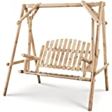 CASTLECREEK 4 Foot 2 Person Rustic Outdoor Patio Wooden Log Porch Swing and Frame with Protective Clear Coat and Hanging Hard