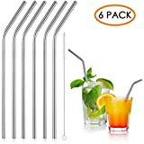 iRainy Stainless Steel Drinking Straws, Set of 6 with Cleaning Brush, Reusable Non-Toxic Eco Friendly Straws for Juice Smoothies