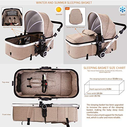 51quznmZ0oL - Baby Stroller Bassinet Pram Carriage Stroller - Cynebaby All Terrain Vista City Select Pushchair Stroller Compact Convertible Luxury Strollers Add Foot Cover (Light Brown)