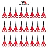 W.A. Portman Kids Scissors Multi Pack for Classroom - Safety Scissors for Toddlers & Older School Kids Art & Craft Supplies - 24-Pack 5-inch Scissors Set, Pointed Tip, Red Handles