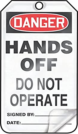 Red//Black on White Accuform MDT162LTP HS-Laminate Safety Tag LegendDanger Hands Off Do Not Operate 5.75 Length x 3.25 Width x 0.024 Thickness LegendDanger Hands Off Do Not Operate 5.75 Length x 3.25 Width x 0.024 Thickness Pack of 25