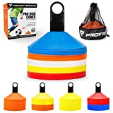 Pro Disc Cones (Set of 50) - Agility Cones with Carry Bag and Holder for Training - Soccer - Football - Kids - Sports - Field Cone Markers - Includes Top 15 Drills eBook
