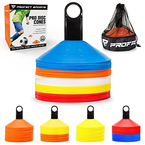 697e117fa Pro Disc Cones (Set of 50) - Agility Soccer Cones with Carry Bag and