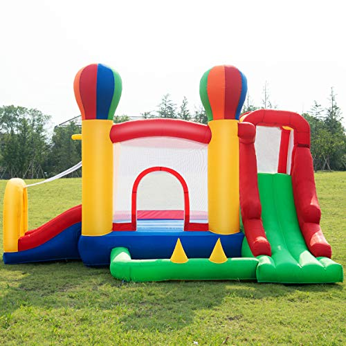 Costzon Inflatable Bounce House, Mighty Balloon Double Slide Bouncer with Basketball Hoop, Climbing Wall, Large Jumping Area, Ideal Kids Jumper (Without Blower) by Costzon (Image #1)