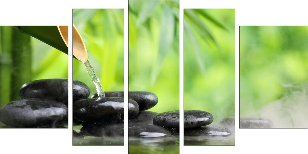 Startonight Canvas Wall Art Zen Stones and Green Bamboo Nature, Spa USA Design for Home Decor, Dual View Surprise Wall Art Set of 5 Total 35.43 X 70.87 Inch Original Art Painting!