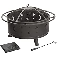 Pure Garden Fire Pit Set, Wood Burning Pit - Includes Screen, Cover and Log Poker- Great for Outdoor and Patio, 30 inch Round Star and Moon Firepit