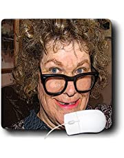 3drose A Curly Haired Toothless Costume On A Woman for Halloween with Big Nerdy Black Glasses - Mouse Pad