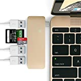 USB C 3.1 Hub Adapter for 12 inch Macbook Pro 2016 13 inch 15 inch,5 in 1 Multiport USB Dongle 3.0 Type A Port Micro SD Memory Card Reader (Gold)