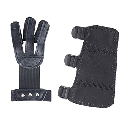 AMYIPO Cowskin 3 Finger Protective Glove & 3 Straps Arm Guard - Durable Cow Leather Archery Protector for Recurve Bows Hunting Finger Arm Hand Protector (Black, 2-piece - Archery Hunting And