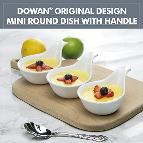 DOWAN 3oz Porcelain Dipping Bowls/Soy Sauce Dishes/Appetizer Spoons - 6 Packs, White, Stackable Ramekins with Grip Handle by DOWAN (Image #5)