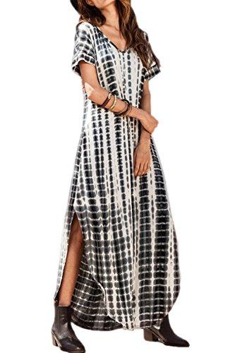 Playa Maxi Bohemios Tie Verano del Largos Algodón De Hendidura Mujer Vestidos Vestidos Black Dye Zilcremo qEtPUP