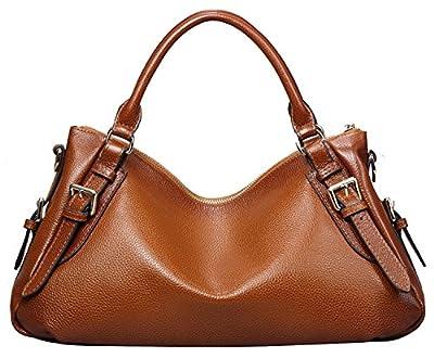Heshe Luxury Cowhide Top Layer Soft Leather Top-handle Shoulder Messenger Bag Crossbody Purse Handbag for Ladies