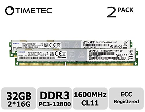 Timetec 32GB Kit (2x16GB) DDR3L 1600MHz PC3-12800 Registered ECC 1.35V CL11 2Rx4 Dual Rank 240 Pin RDIMM Server Memory RAM Module Upgrade (32GB Kit (2x16GB))