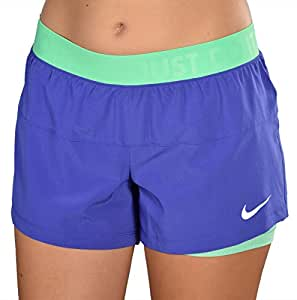 Nike Women's Dri-Fit Icon knit 2-in1 Shorts Compression Training Blue/Green LARGE