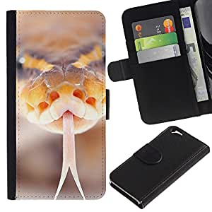All Phone Most Case / Oferta Especial Cáscara Funda de cuero Monedero Cubierta de proteccion Caso / Wallet Case for Apple Iphone 6 // Snake Hiss Orange Macro Close-Up Nature