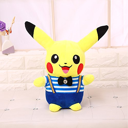 Pikachu Wearing A Costume (New Pikachu Cartoon Pokemon Lovely Small Plush Striped Clothes Wear Back Strap Clothing Small Elf Plush Toys Holiday Gift Dolls (blue))