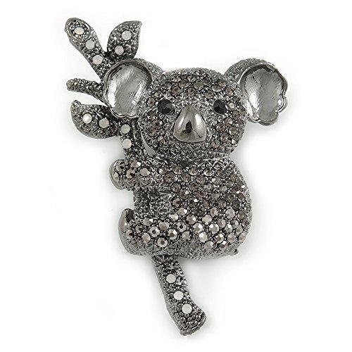 Hematite Bear - Grey/Hematite Crystal Koala Bear Brooch in Black Tone Metal - 53mm Tall
