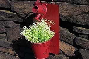 Le Jardin–Maceta de pared adorno de jardín Shabby Chic Decoración, rojo oscuro