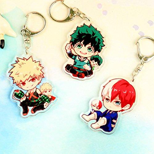 AUGYUESS My Hero Academia Anime Boku No Hero Academia Izuku Midoriya Cosplay Costume Characters Keychain Pendant Key Ring (3 PCS SET) ()