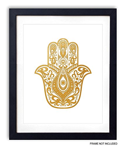 Gold Foil Art Print - Hamsa Hand Buddha Palm Gold Foil Design 8x10 inches Photo #4