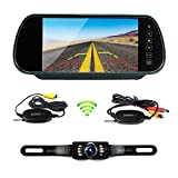 Podofo Wireless Car Backup Camera Parking System 7' LCD Touch Button Vehicle Rear View Mirror with Waterproof IR License Plate Camera